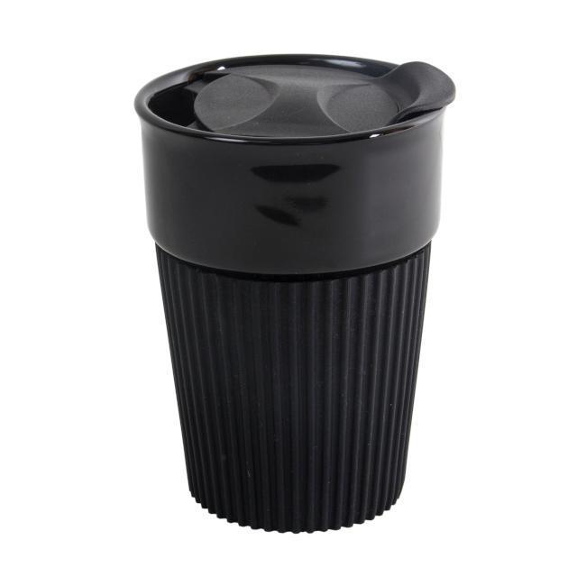 Чашка з силіконовим манжетом та кришкою поїлкою AFINA BLACK 400 мл для нанесення логотипу, чорна