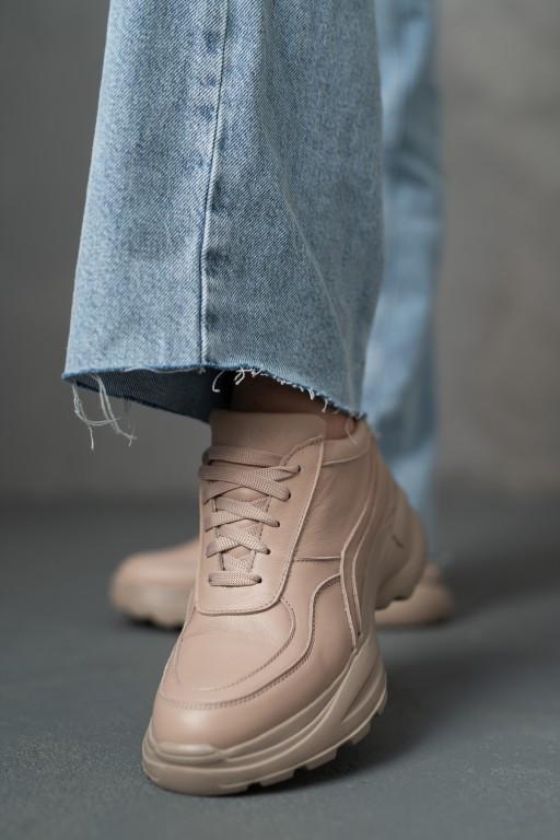 Женские кроссовки кожаные весна/осень бежевые