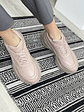 Женские кроссовки кожаные весна/осень бежевые, фото 7