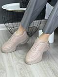 Женские кроссовки кожаные весна/осень бежевые, фото 9