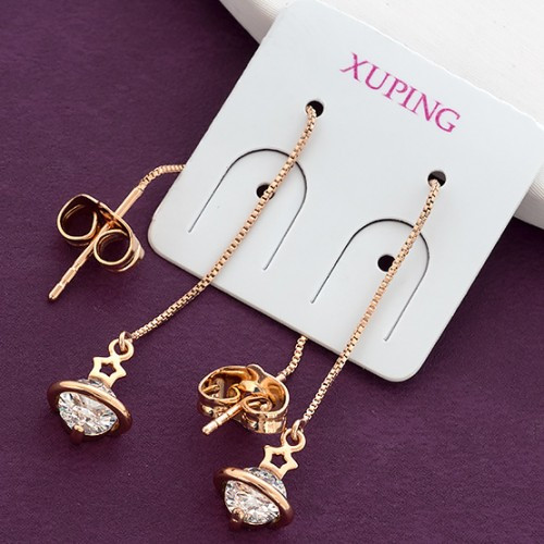 Серьги-протяжки Xuping длина 7см цепочка 0.5мм медицинское золото позолота 18К с856