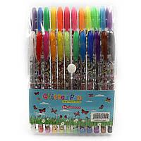 Набір гелевих ручок в PVC 24 кольору Метелики, з блискітками JO 9785-24