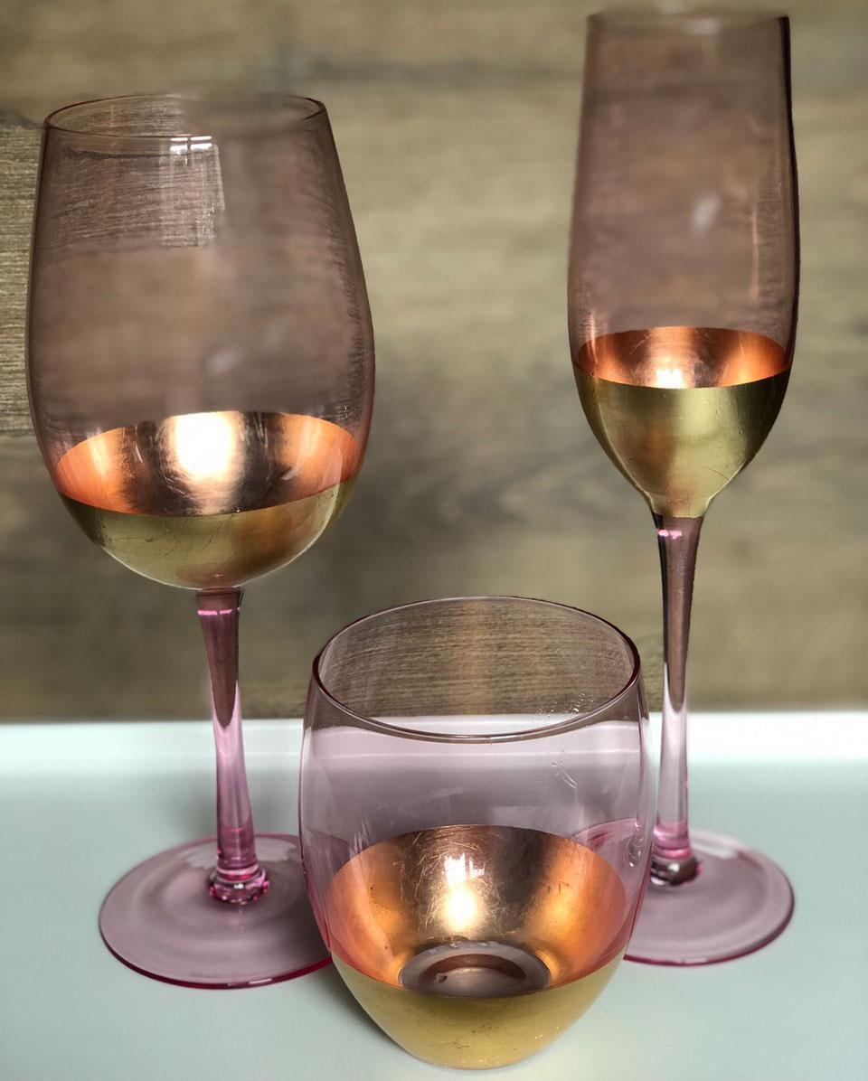 Набір склянок DS Pink Gold 500 мл 4 шт Рожевий з золотом