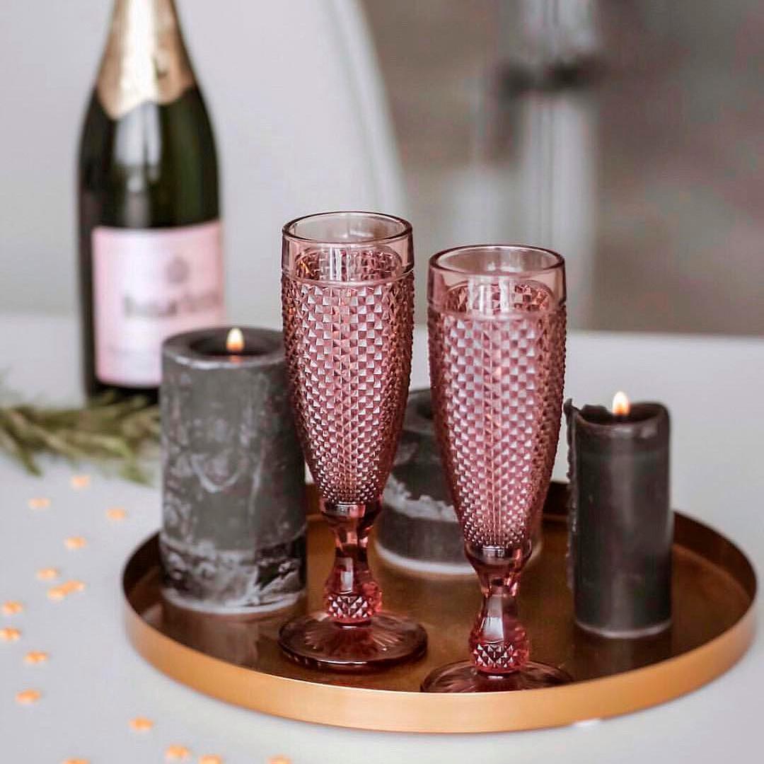 Набір келихів Кубок DS Amber Pink для шампанського 150 мл 6 шт Рожевий