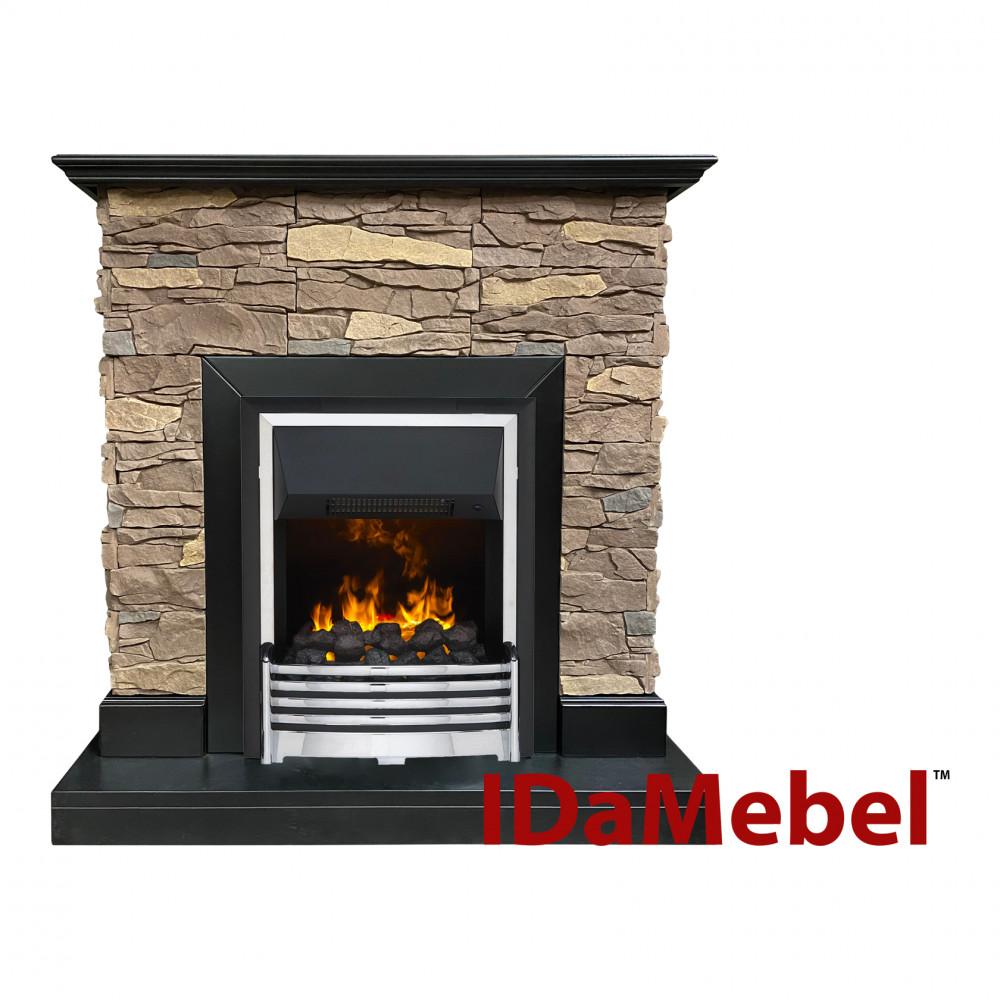 Пристенный каминокомплект IDaMebel Gemma Brown Flagstaff эффект пламени со звуком и обогревом