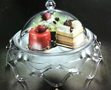 Подставка для торта с крышкой акрил 39.5*39.5*24.5 см