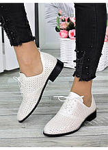Туфлі жіночі шкіряні колір шампань (літо)