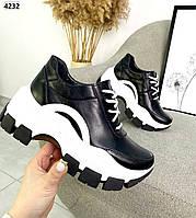 Жіночі кросівки з натуральної шкіри на високій підошві 36-40 р чорний, фото 1