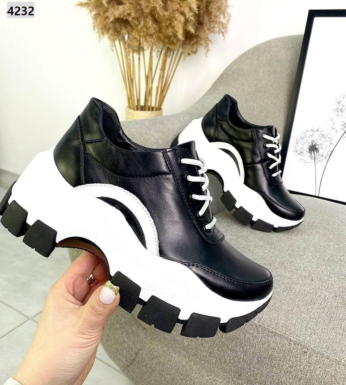 Жіночі кросівки з натуральної шкіри на високій підошві 36-40 р чорний