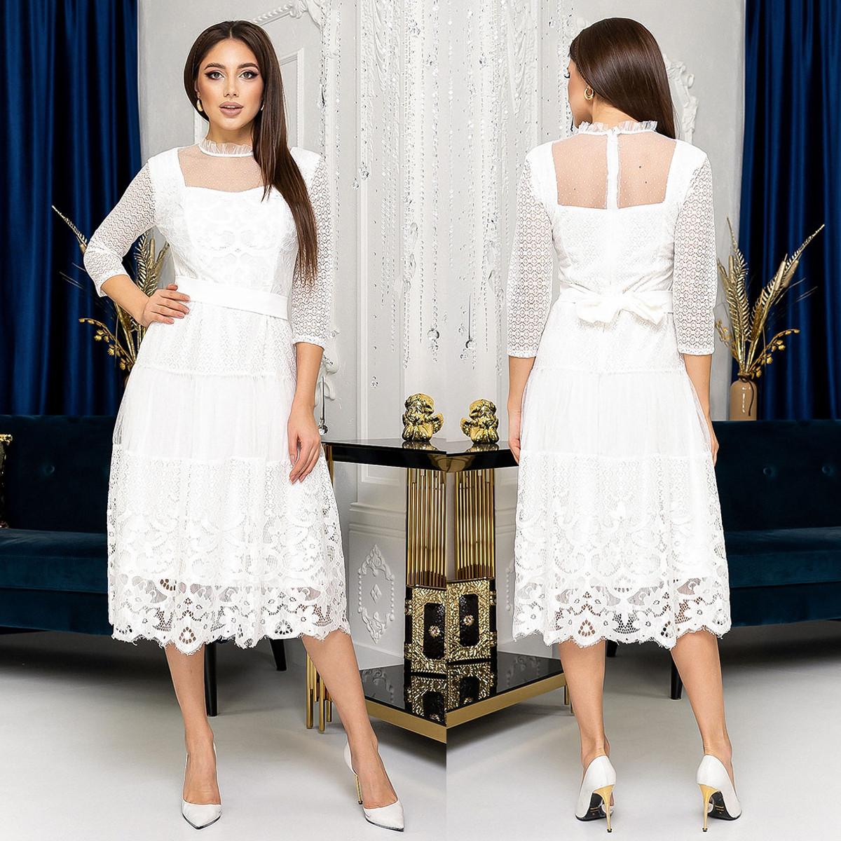 """Мереживне весільне вінчальне плаття міді """"Белла"""""""