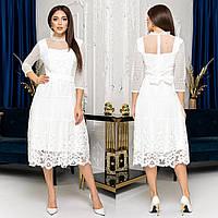 """Мереживне весільне вінчальне плаття міді """"Белла"""", фото 1"""