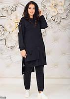 Трикотажний жіночий костюм з асиметричною тунікою з 48 по 58 розмір, фото 2