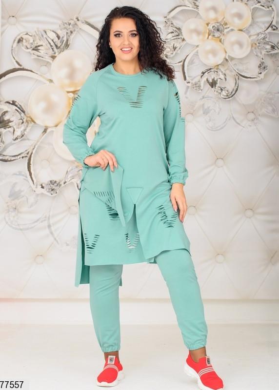 Трикотажний жіночий костюм з асиметричною тунікою з 48 по 58 розмір