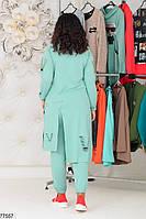 Трикотажний жіночий костюм з асиметричною тунікою з 48 по 58 розмір, фото 3