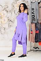Трикотажний жіночий костюм з асиметричною тунікою з 48 по 58 розмір, фото 6