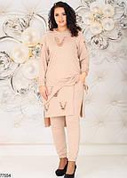 Трикотажний жіночий костюм з асиметричною тунікою з 48 по 58 розмір, фото 4