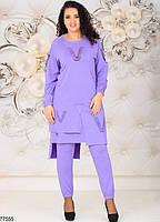 Трикотажний жіночий костюм з асиметричною тунікою з 48 по 58 розмір, фото 5