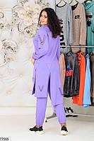 Трикотажний жіночий костюм з асиметричною тунікою з 48 по 58 розмір, фото 7