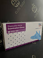 Хозяйственные синие перчатки для работы по дому S М L 100% нитрил