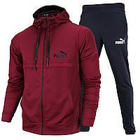 Спортивный костюм весна-осень бордо/т серый PUMA с капюшоном K-405 BOR/FUME M(Р) 21-655-013