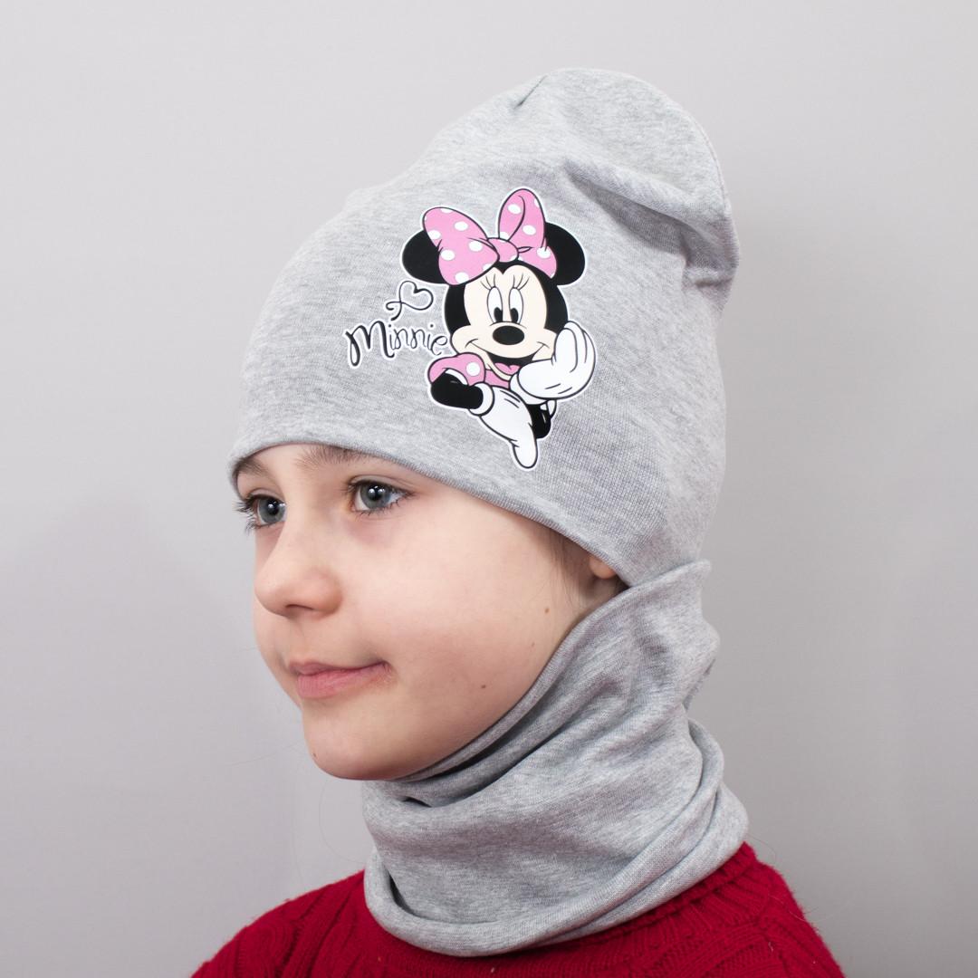 Шапка для Девочки Минни Маус - Комплект серый