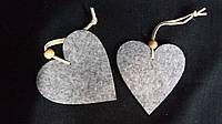 Сердце из тонкого войлока 8*8,8/6 серое (цена за 1 шт. + 2 грн.)
