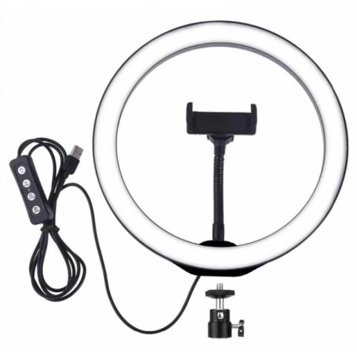 Кольцевая LED лампа 26 см 15 W с держателем для телефона селфи кольцо для блогера