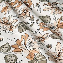 Декоративная ткань с мелкими оранжевыми цветами на белом турецкая 061583v3