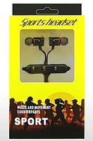 Sports headset беспроводные наушники косые с Bluetooth, черные