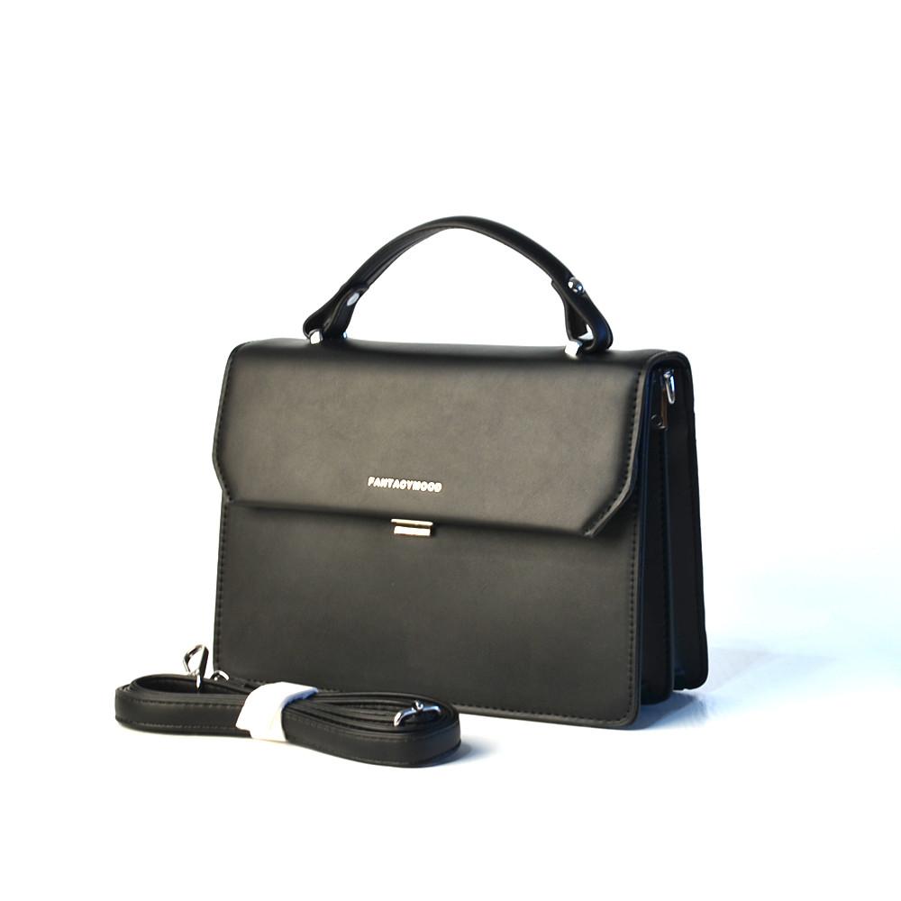 Черная женская маленькая сумочка 3113 портфельчик кросс-боди через плечо