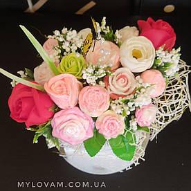 Букет з мила ручної роботи, мильна букет, композиція троянди з мила, нев'янучі квіти