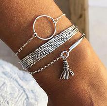 Стильний багатошаровий металевий браслет срібний (набір з трьох браслетів на руку)
