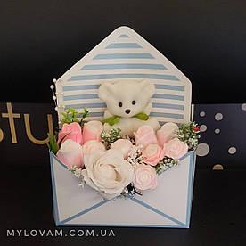 Букет з мила ручної роботи, мильна букет в конверті, букет троянд