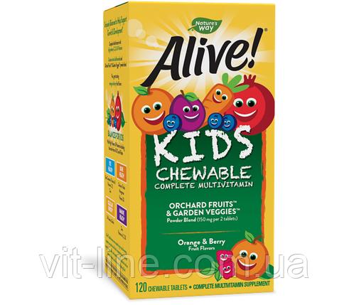 Nature's Way, Alive! Детские жевательные мультивитамины со вкусом апельсина и ягод, 120 жевательных, фото 2