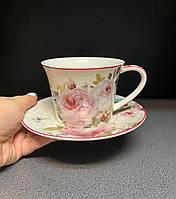Чашка с блюдцем, чайная пара Пион 220 мл 924-369