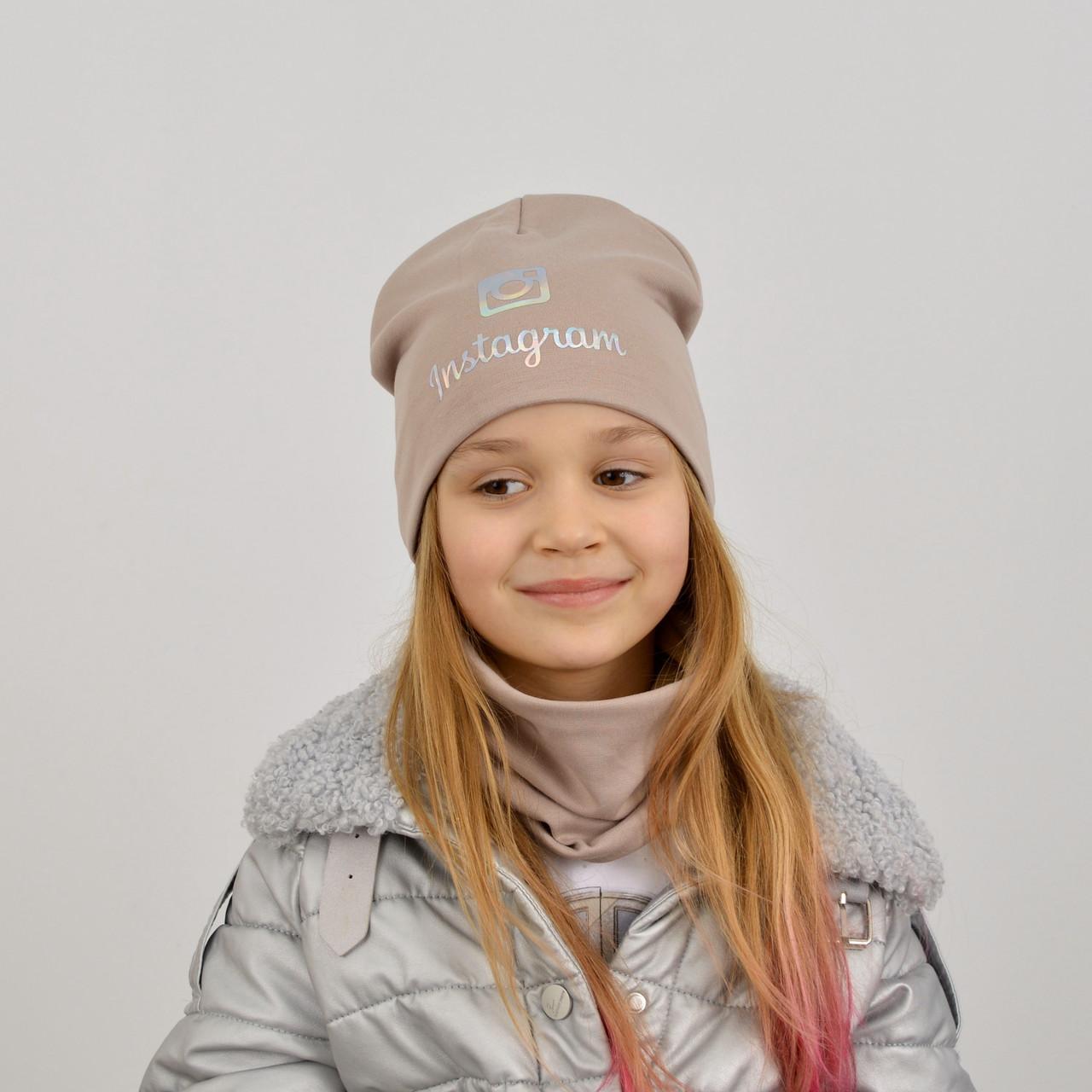 Дитячий трикотажний комплект на флісі оптом (шапка+хомут) Instagram світла пудра+голограма
