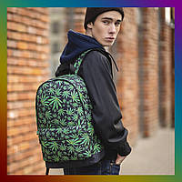 Мужской рюкзак спортивный городской для тренировок в стиле casual кэжуал с принтом Конопля Cannabis
