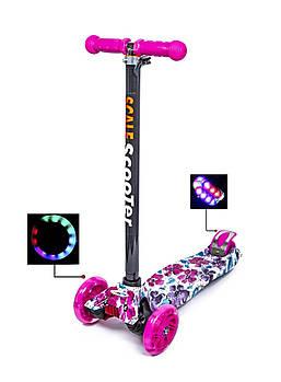 Детский самокат MAXI Flowers 2 Светящиеся малиновые колеса Гарантия качества Быстрая доставка