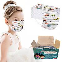 Одноразовая детская маска 50шт / Маска для лица с рисунком