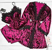 Домашний велюровый комплект халат+пижама- вишневый.