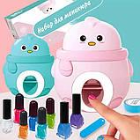 Детский набор для маникюра для девочек с принтером штампом для ногтей Голубой, фото 3