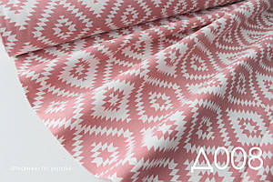 Ткань панама Duck водоотталкивающая ромбы коралловые
