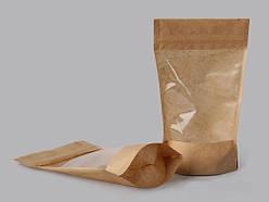 Пакет Дой-Пак 160*265 дно (45+45) крафт з прозорою стороною