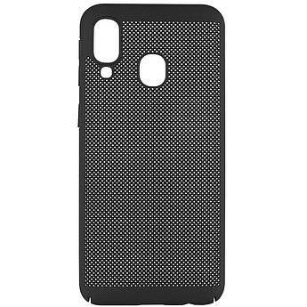 Ультратонкий дышащий чехол Grid case для Samsung Galaxy A40 (A405F) Черный
