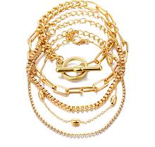 Стильний багатошаровий металевий браслет золотий (набір з п'яти браслетів на руку)