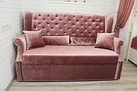 Диван кухонный раскладной со спальным местом (розовый велюр)