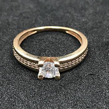 Золотое кольцо с фианитом 585 пробы, вес 2.28 г. Б/у. Продажа по Украине