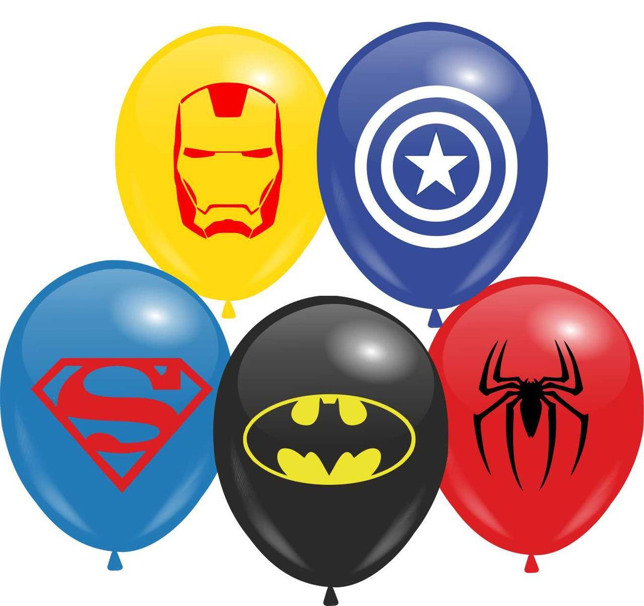 """Воздушные шары 12"""" с рисунком Супергерои (1стр) 10 шт"""