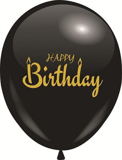 """Повітряна куля чорний 12"""" з малюнком Happy Birthday (золота фарба) 10 шт"""