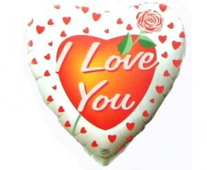 """Серце фольговане 18"""" I Love You на білому фоні з розою"""